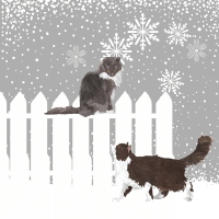 Serviettes cocktail  Snowfall Cats