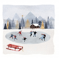 Cocktail napkins Mountain Skating