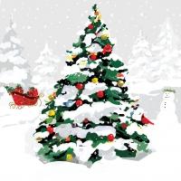 Lunch Servietten White Christmas Tree
