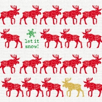 Lunch Servietten Scandic Moose red linen