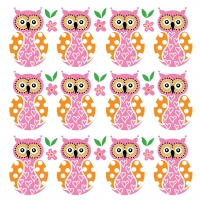 Serviettes de table 33x33 cm - Famille Hibou