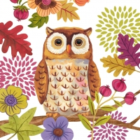 Lunch Servietten Autumn Owl white