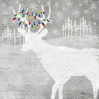 Lunch napkins Woodland Moose silver