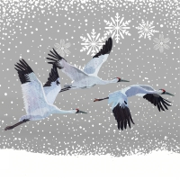 Lunch napkins Snowfall Cranes