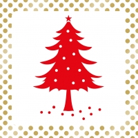 Lunch napkins Dots & Tree red
