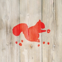 Lunch napkins Winter Squirrel red