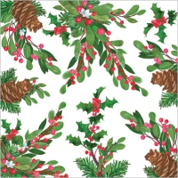Napkins 33x33 cm - Pine Cones & Holly