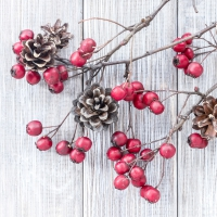 Serviettes lunch Red Berries on Wood