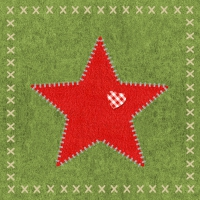 Lunch napkins Felt Star green