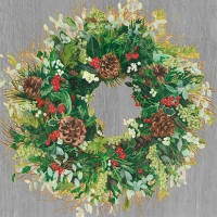 Lunch napkins Yuletide Wreath Wood