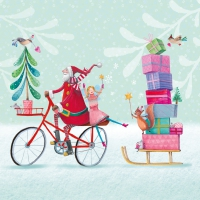 Lunch napkins Santa on Bike