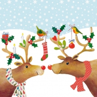 Lunch napkins Kissing Reindeers