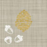 Lunch napkins Acorns & Pinecone on Linen