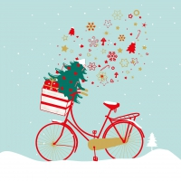 Lunch napkins Xmas Bike