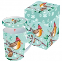 Cup with lid Winter Bird