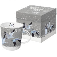 Porzellan-Henkelbecher Snowfall Cranes