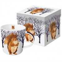 porcelain cup Winter Squirrel