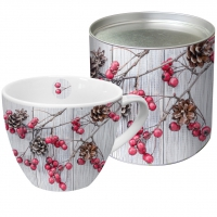 Porcelain Cup - Red Berries on Wood
