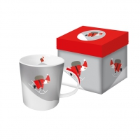 porcelain cup Here Comes Santa