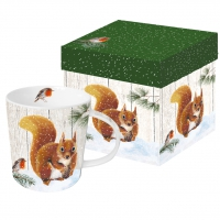 porcelain cup Robin & Squirrel