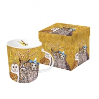 tazza di porcellana Owl Family