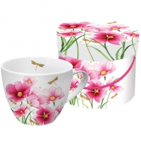 +*)Porzellan-Tasse Flowers & Dragonfly