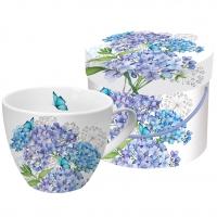 +*)taza de la porcelana Hydrangea Provencale