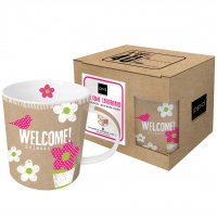 **)porcelain cup Welcome Cardboard