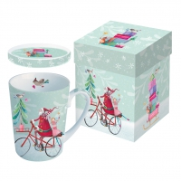 Cup with lid - Santa On Bike
