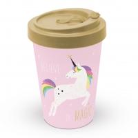 *)Bécher en bambou Pink Unicorn