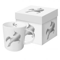 **)taza de la porcelana Silver Unicorn