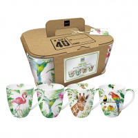 Porcelain cup with handle - Mugs Tropical Set of 4