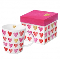 **)porcelain cup Aquarell Hearts