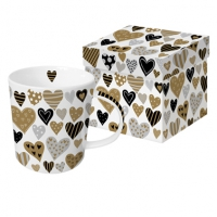 **)porcelain cup Golden Hearts