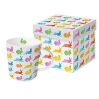 Porzellan-Henkelbecher Aquarell Bunnies