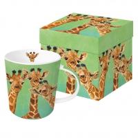 Porzellan-Henkelbecher Giraffe Amigos