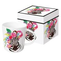 Porzellan-Henkelbecher Flora Zebra