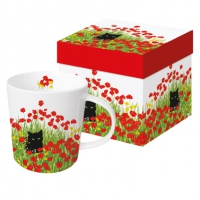 tasse de porcelaine Black Cat Poppies