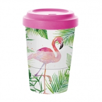 *)Becher fatto di bambù Tropical Famingo