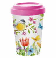 *)Vaso de bambú Spring Bird