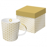 +*)Porcelain mug with handle - Ginza gold real gold