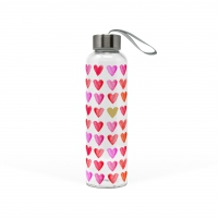 +*)Glasflasche Aquarell Hearts