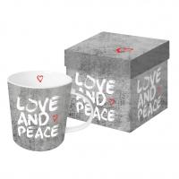 Taza de porcelana con mango - Amor y paz