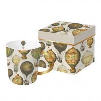 +*)Porseleinen beker met handvat - Mongolfiere