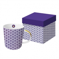 +*)Porcelain mug with handle - Ginza violet real gold