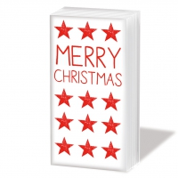 handkerchiefs Merry Christmas Star red