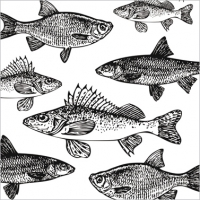 Napkins 33x33 cm - Graphic Fishes