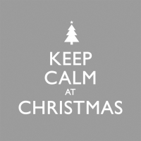 Cocktail napkins Keep Calm Christmas silver *