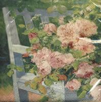 Lunch Servietten Flowers on Bench