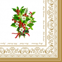 Serviettes lunch Christmas Holly